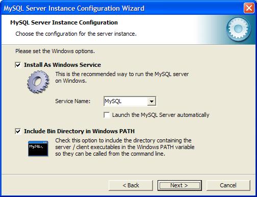 Выбор способа запуска MySQL-сервера