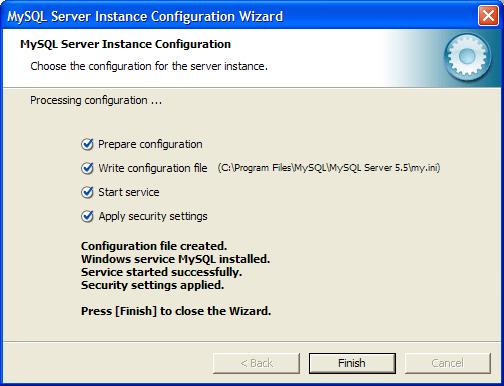 Финальное диалговое окно установки MySQL-сервера