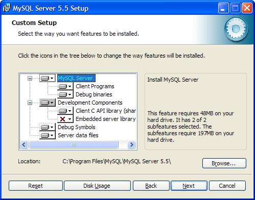 Выбор компонентов MySQL и задание директории MySQL