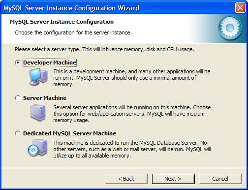 Конфигурирование MySQL как сервера для веб-разработок